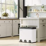 SONGMICS Mülleimer für die Küche, 54 Liter, Abfalleimer, Treteimer mit 3 Fächern, Inneneimern und 6 Aufklebern für Mülltrennung, Mülltrennsystem, weiß-schwarz LTB54W - 5
