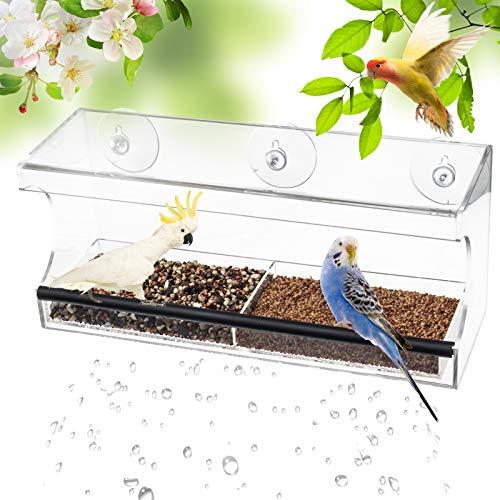 D4P Display4top Groß Transparent Vögel Fenster Vogelfutterspender mit Ablauflöchern, herausnehmbarem Tablett, superstarken Saugnäpfen, Große Samenkapazität (30 x 13 x 10cm)