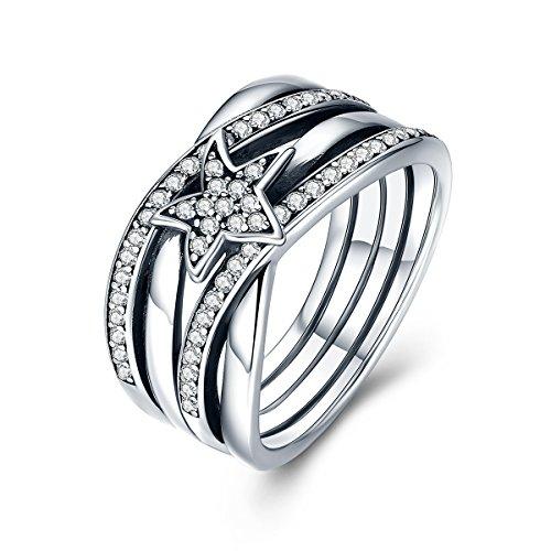 Bamoer 925sterling Silver Star Twisted zircone dichiarazione anello di fidanzamento per le donne