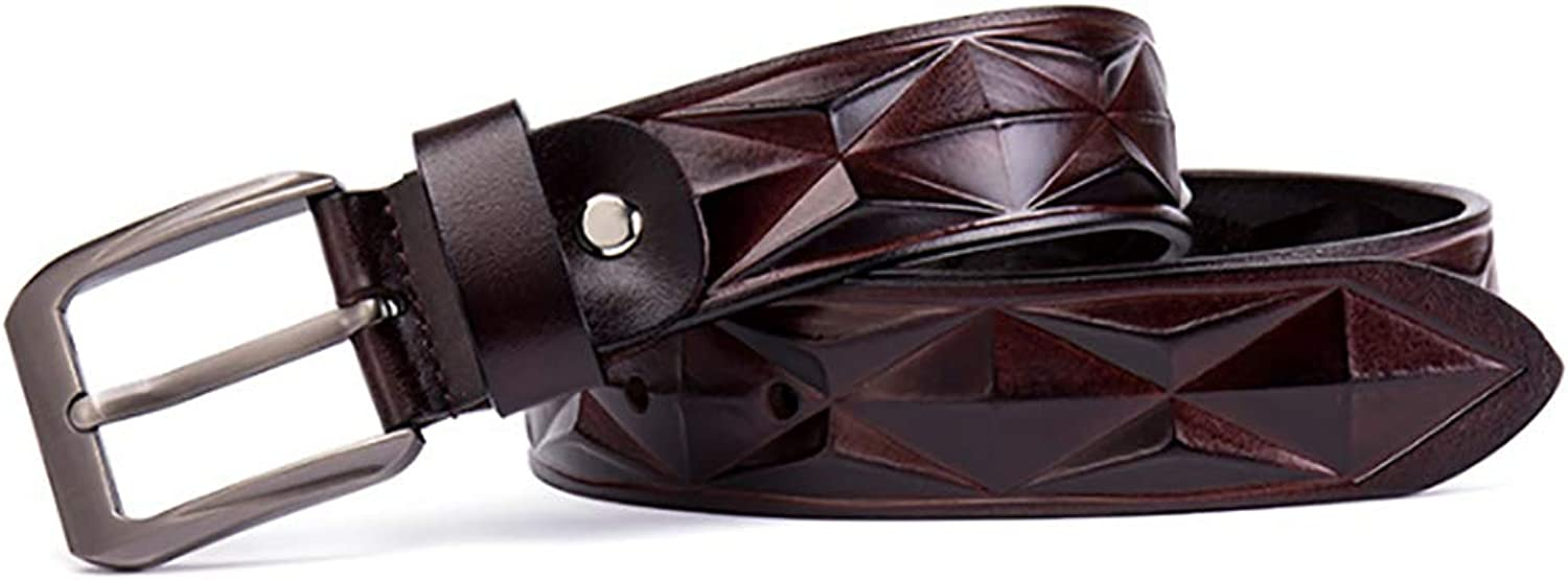 Men's Belt Embossed Copper Buckle Business Casual Classic Leather Belt, (color   Brown)