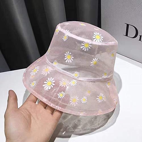 Sombrero de Cubo Bordado con Margaritas, Sombreros de Playa de Flores de Encaje Transparente para Mujer, Gorra de Sol con Estampado de Margaritas a la Moda para Verano-Pink