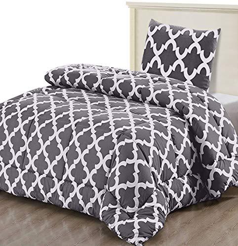 Utopia Bedding Bettdecke - Sommerdecke mit Kissenbezug - Leichte Bettdecke (540g Füllung) - (135x200cm + 1 x Kissenbezuge 80x80cm, Grau)