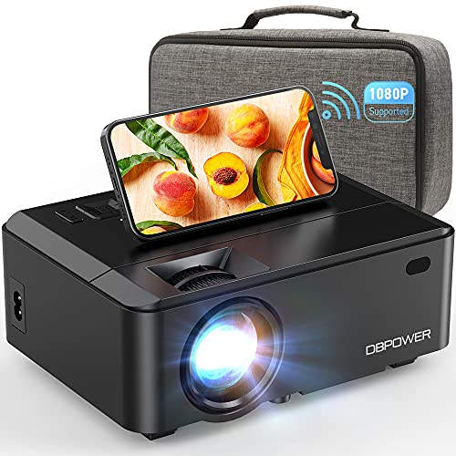 WiFi Mini Projector, DBPOWER 8000L HD Video Projector with Carrying Case&Zoom, 1080P and iOS/Android Sync Screen Supported, Portable Home Movie Projector Compatible w/Smart Phone/Laptop/PC/DVD/TV/PS4