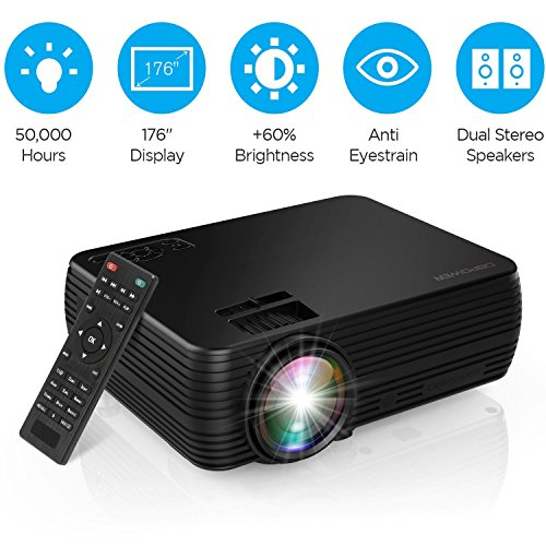 "Projector, DBPOWER Mini Portable Video Projector 176"" Display 50,000 Hours LED Full HD Projector 1080P 2018 Released, Compatible with HDMI VGA AV USB TF Amazon Fire TV Stick"
