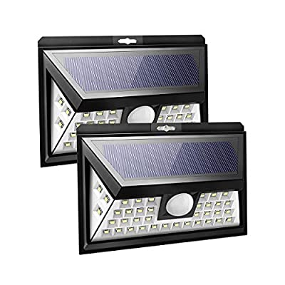 Solar Lights Outdoor Sun Powered Wall Lights Porch Lights Patio Lights 40 LED Lights Waterproof with Motion Sensor 270 Degrees Wide Angle for Garden, Garage, Deck, Yard (2 Pack)