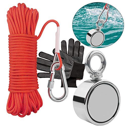 TooTaci Round Neodym Eyebolt Fishing Magnet mit 66ft Orange Seil, Super Power N52 Zugkraft, Durchmesser x 60mm Dicke x 15mm für Magnetangeln und Bergung im Fluss