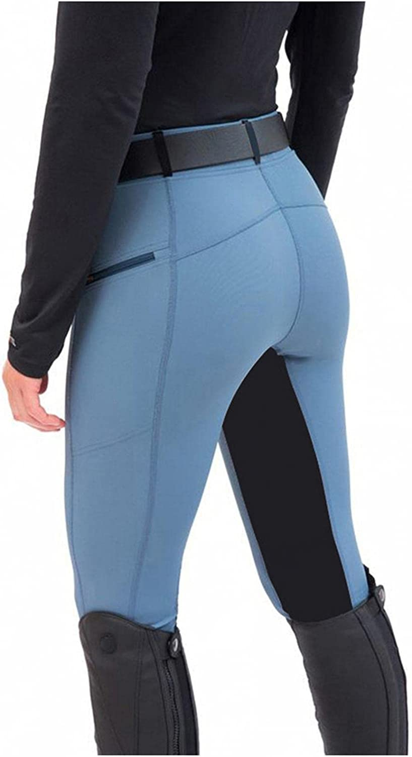 melupa Women's Horse Riding Pants Equestrian Breeches Tights Belt Loops Pockets Patchwork Schooling Active Legging