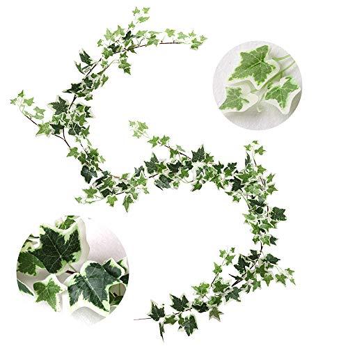 Veryhome Künstliche Ivy Silk Gefälschte Rebe Wandbehang Party Dekoration Hochzeit Garland Grün Blätter Garten Heimwerk Pflanzen Grün (Grün-weiß)