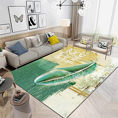 Large Living Room Rugs Feather Pattern Machine Washable Carpet Green Brown Oil, Design Bedroom Rugs For Adults120X160cm