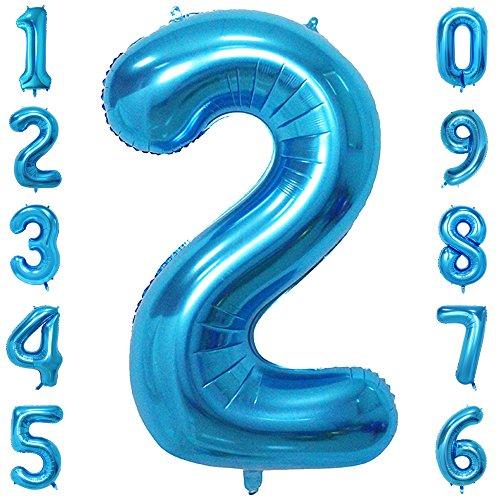 CHANGZHONG 40 Zoll 0 to 9 in Blau Nummer Folienballon Helium Zahlenballon Luftballon Riesenzahl Party Hochzeit Kindergeburtstag Geburtstag Nummer 2
