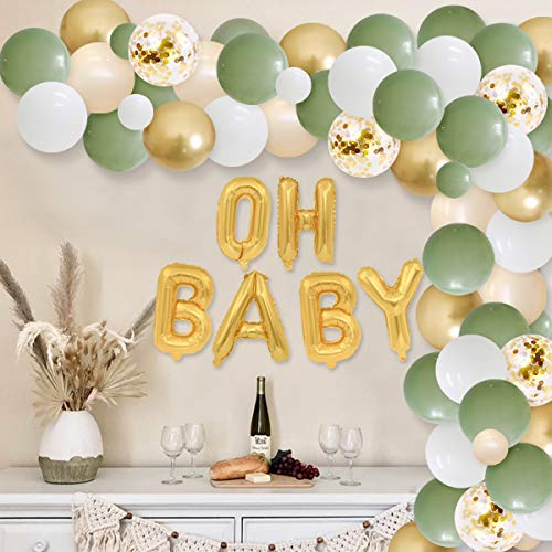 Sage Green Party Decorations - Baby Shower Decorations Retro Olive Green DIY Balloon Garland Kit Oh Baby Balloon for Girl Boy Gender Neutral Party Supplies Set