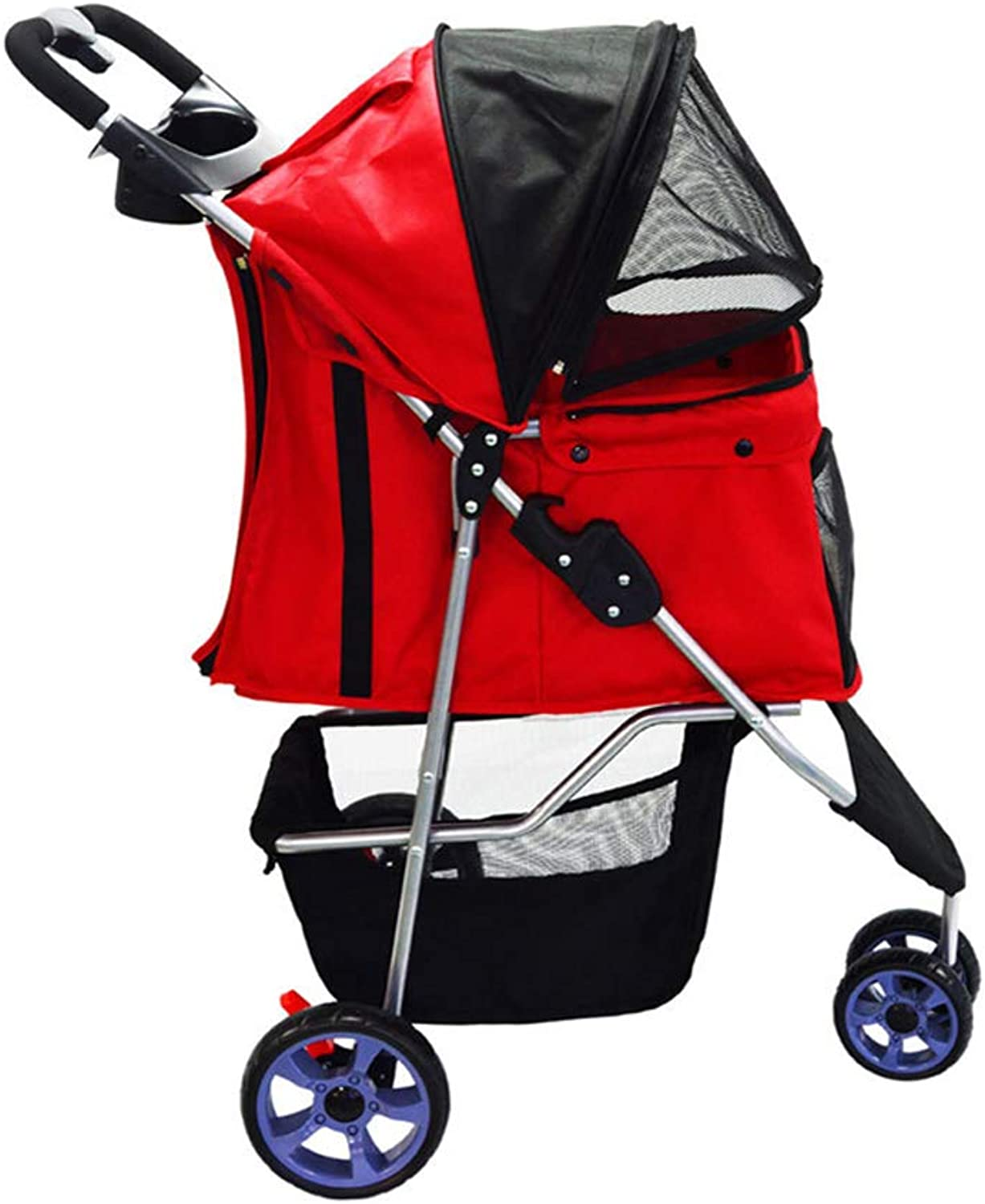 HAO SHOP Small And Mediumsized Dogs Outdoor Waterproof Washable Cart, Folding Pet Stroller,Red