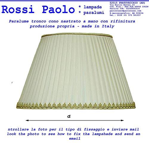 Paralume tronco cono tessuto plissettato nastrato a mano - produzione propria - made in Italy (cm 35)