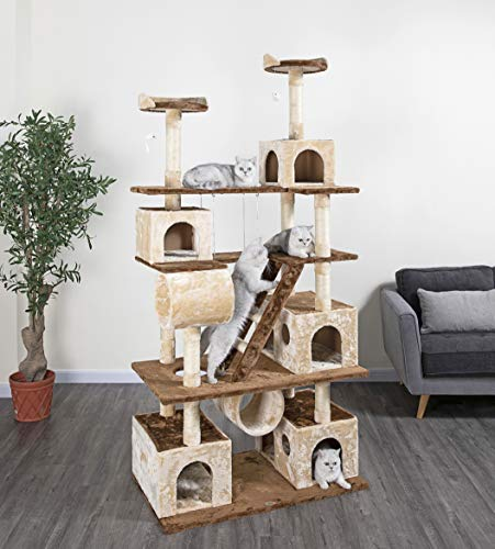Go Pet Club Huge 87″ Tall Cat Tree House Climber Furniture with Swing