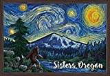 Sisters, Oregon - Bigfoot - Starry NIght 107486 (36x24 Giclee Art Print, Gallery Framed, Espresso Wood)