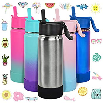 CHILLOUT LIFE 17 oz Insulated Water Bottle with Straw Lid for Kids and Adult + 20 Cute Waterproof Stickers - Perfect for Personalizing Your Kids Metal Water Bottle