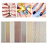 ONNPNN 7 Sheet Nail Strip Sticker, 3D Curve Stripe Lines Nails Art Stickers, Adhesive Striping Tape Fingernail Decals, Waterproof Striping Tapes Line DIY Foil Manicure Decoration for Wonen Girls