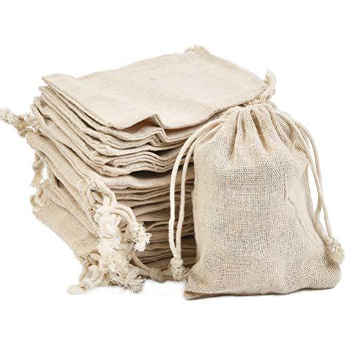 DODUOS 30 piezas Bolsa de Algodón 10x12cm Bolsa de Arpillera Reutilizable Bolsas de Lino con Cordón para Fiesta, Bodas, Navidad, Bolsitas de Tela para Almacenar regalos, Joyas, dulces