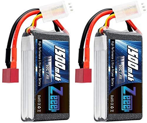 Zeee 2S - Batería de polímero de litio (7,4 V, 60 C, 1500 mAh, con conector JST, para aviones con mando a distancia, 2 unidades)