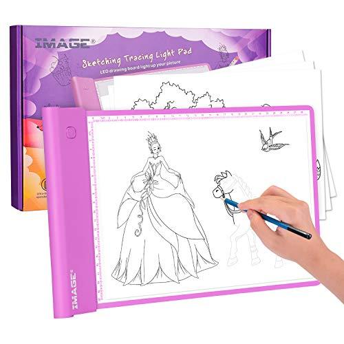 Kinder Leuchtplatte, batteriebetrieben A4 Leuchtpult Physikalische Taste Leuchttisch für Kinder Stufenlose Helligkeitsregelung mit...