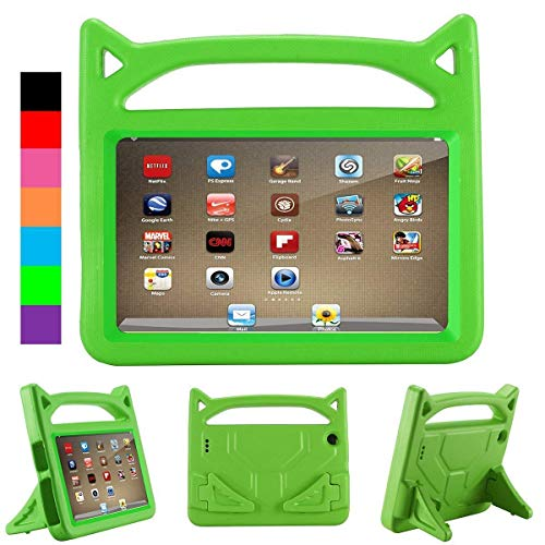 Luka Fire HD 7 Tablet Case for Kids- Light Weight Shock Proof Handle Protective Cover with Built-in Stand for Fire 7 inch Display Tablet (Compatible with 2015&2017 Release) (Green)