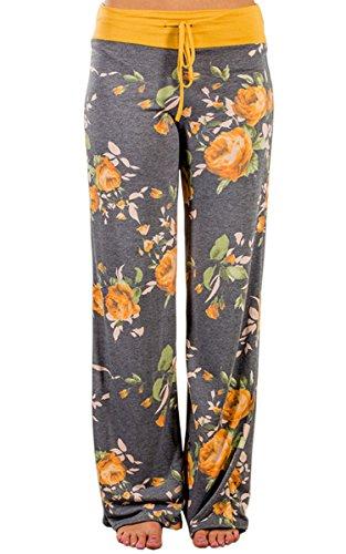 Angashion Damen Blumenmuster Weite Bein Lange Hose Gelb 3XL