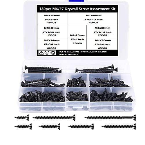 TAIANJI 180 tornillos de madera surtidos M4 negro 16 mm, 20 mm, 25 mm, 30 mm, 40 mm, 50 mm, 60 mm, tornillos surtidos, juego de tornillos de cabeza plana Phillips para paneles de yeso, muebles, etc