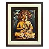 Western Festivity La Meilleure qualité Peinture Murale Art gaufrée Seigneur Bouddha Bénédictions (PS Bois, 46 cm x 38 cm x 3,75 cm, Brown) ITG # 29