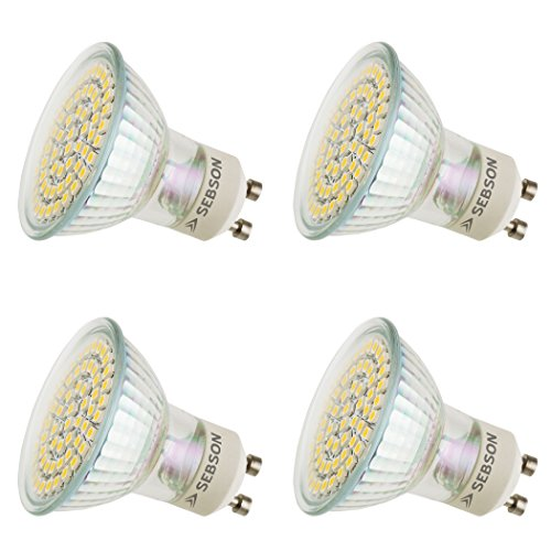 SEBSON LED GU10 Lampe 4W (3,5W), ersetzt 35W Halogen, kaltweiß, 325lm, Leuchtmittel 110°, 230V, 4er Pack