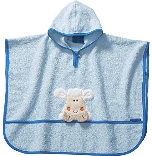 Morgenstern, hochwertiger Frottee - Bade - Poncho aus 100% Baumwolle, Farbe blau Motiv Schaf, Größe one Size (ca. 1 bis 3 Jahre)