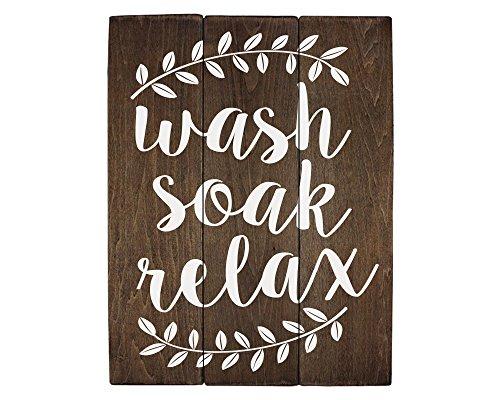 Elegant Signs Wash Soak Relax Wood Sign Bathroom Sign Bathroom Wall Art Bathroom Wood Sign Rustic Bathroom Decor (11 x 14 inch)