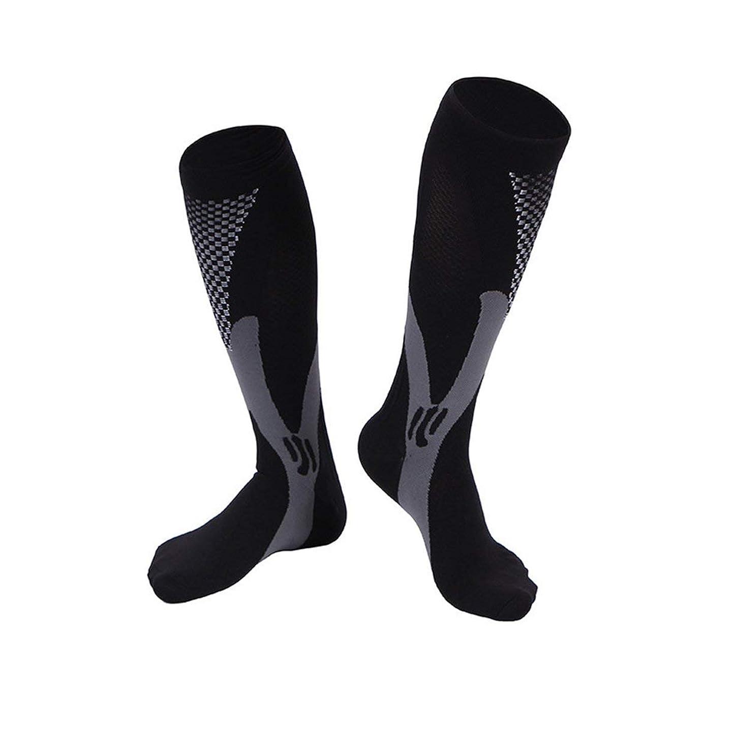 拒絶するマイクロプロセッサ整然とした快適な男性女性ファッションレッグサポートストレッチ圧縮ソックス下膝ソックスレッグサポートストレッチ通気性ソックス - ブラック2 XL