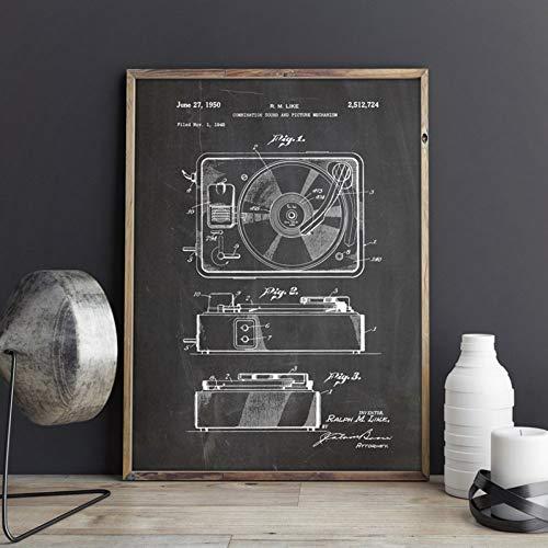 GUDOJK wandschilderij retro platenspeler druk vinyl platenspeler muziek kamer decor speler afbeelding canvas schilderij cadeau-idee 40x60cm(16x24inch)