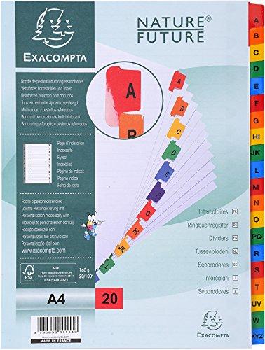 Exacompta Nature Future - Separadores alfabéticos (20 pestañas plastificadas, 29.7 x 22.50 cm), color blanco