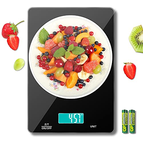 MomMed Digital Food Scale, Kitchen Scales Digital Weight Grams and oz, 33lbs/15KG Scale for Baking, 5 Units LCD Display, Easy Clean Tempered Glass Platform, 2 AAA Batteries Include