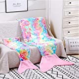 Mermaid Tail Blankets Glittering Soft Flannel Rainbow Colorful Mermaid Tail for Toddlers Girls Gifts (Light Pink Colorful, Toddlers)