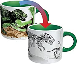 Disappearing Dino Mug - Heat Sensitive Color Changing Coffee Mug - Add Hot Liquid and Watch Dinosaurs Turn to Fossils