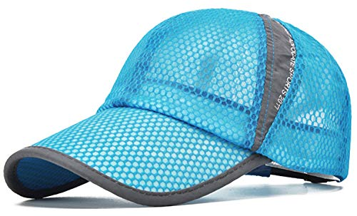ELLEWIN Unisex Breathable Quick Dry Mesh Baseball Cap Sun Hat Tennis Cap (Lake Blue-M/L)