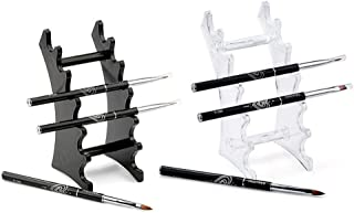 RAYNAG Set of 2 Pen Display Holder Acrylic Stands, Nail/Makeup/Art Brush Rack Organizer Holder, Clear and Black, 6-Layer S...
