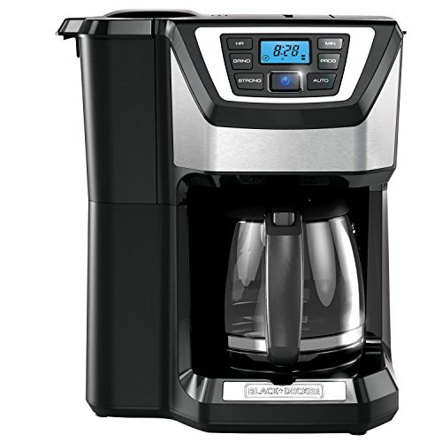 BLACK+DECKER Mill & Brew Coffeemaker with Built-In Grinder, 12 Cup, Programmable, Black and Stainless Steel, CM5000B