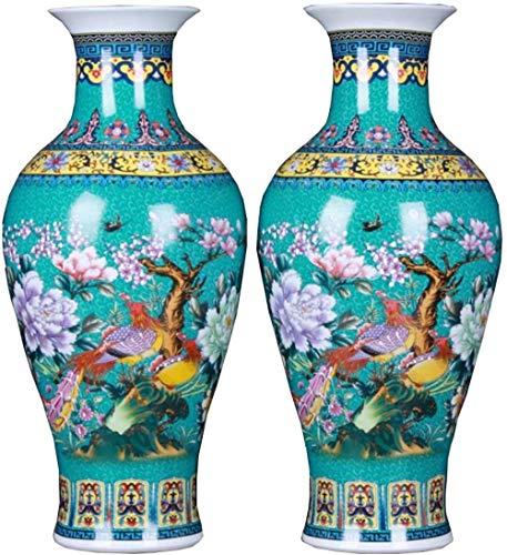 DQQQ Fischschwanz Keramik Bodenvase Paar emaillierte grüne Blumenvase Handmade Home Dekorative Vase Höhe 17,71 (45 cm) Grün-Grün