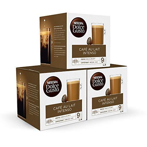 Nescafé DOLCE GUSTO CAFÉ CON LECHE INTENSO - Pack De 3 x 16 cápsulas - Total: 48 Cápsulas