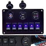 Pannello interruttore a levetta per auto, interruttore a leva, 2 USB, 12 V, 24 V, LED, per veicoli di camper e camion