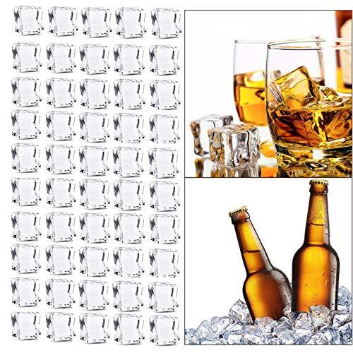 TheStriven 50 Piezas Cubitos de Hielo de Acrílico Transparente Cubitos de Hielo Falsos para Decoración en Expositor Artificial Cubos de Hielo de Acrílico Cristalino Claro Fotografía Decoración (25mm)