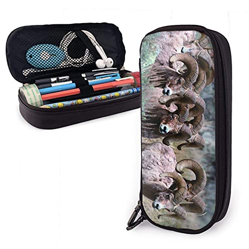 ~ Bolsa para bolígrafos Bighorn de piel de oveja bolsa de papelería estuche de maquillaje caja de oficina pluma bolsa de almacenamiento bolsa de cosméticos bolsa de cuero