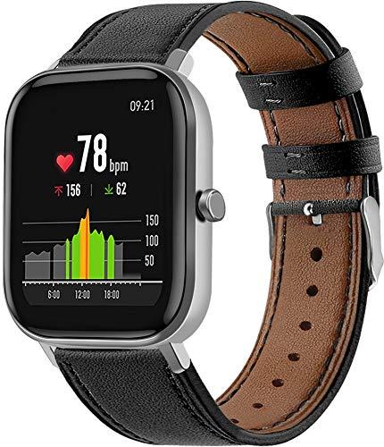 Gransho Schnellverschluß Uhrenarmbänder kompatibel mit Amazfit GTS/GTS 2 / GTS 2 Mini - Leder Armbänder für Herren und Damen im eleganten Stil (20mm, Pattern 9)