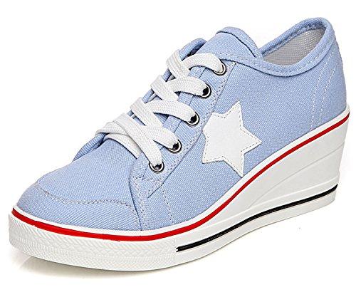 Fashion Women Shoes Woman Casual Shoes Comfortable Lace Up Platform Sneakers Wedges Denim Canvas Shoes Breathable Flat Shoe Blue 6