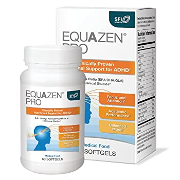 EQUAZEN PRO Fish Oil for Kids - Clinically Tested to Improve Focus Learning Memory + Behavior in Children Teens - DHA / EPA Omega-3 + Omega-6 Supplement for Brain Support*  60 Softgels