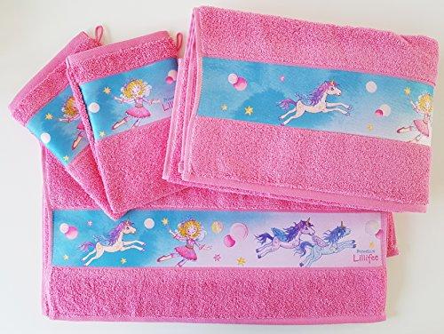 Dyckhoff Prinzessin Lillifee Set, 1x Kinderduschtuch 70x130 cm, 2X Kinderhandtuch 50x80cm, 2X Kinderwaschhandschuh 17x23cm rosa mit schöner Bordüre