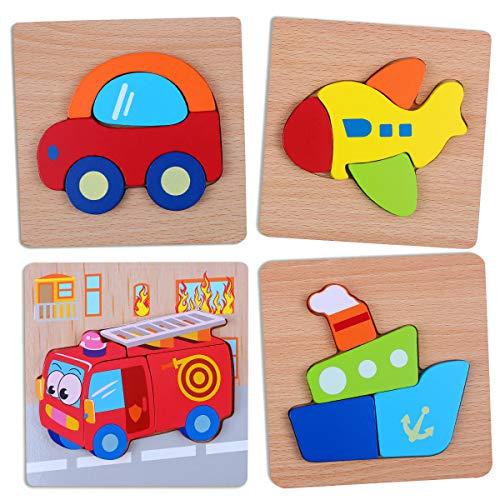 Puzzle in Legno per Bambini Giocattoli, Montessori Giochi Set 4 Pezzi Prescolare Educativo Giocattoli per 3 4 5 Anni Bambina Bimbo Ragazza Ragazzo, Gioco Educativi Set Regalo, Multicolore